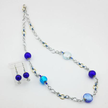 1220SET-SERIE-DONNA-Collana-lunga+orecchini-toni-blu-azzurro