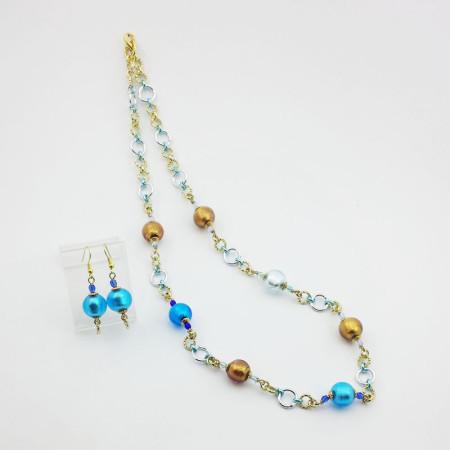 1241SET-SERIE-DONNA-MINI-Collana+Orecchini-toni-bronzo-azzurro