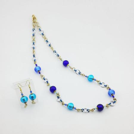1242SET-SERIE-DONNA-MINI-Collana+Orecchini-toni blu-azzurro