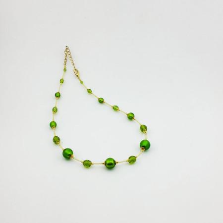 1260C-SERIE-BASIC-ORO-Collana-tono-Verde Brillante