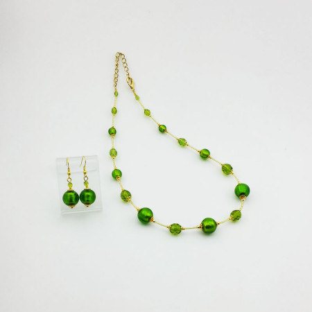 1260SET1-SERIE-BASIC-ORO-Collana+Orecchini-tono-verde-brillante