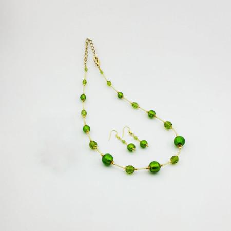 1260SET2-SERIE-BASIC-ORO-Collana+Orecchini-tono-verde-brillante