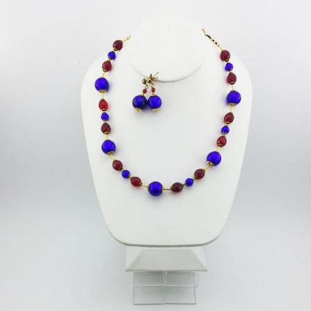 20006SET-Collana+Orecchini-blu-cobalto-rosso