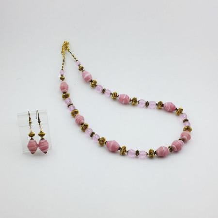 20009SET1-Collana+Orecchini-rosa-pastello