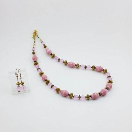 20009SET2-Collana+Orecchini-rosa-pastello